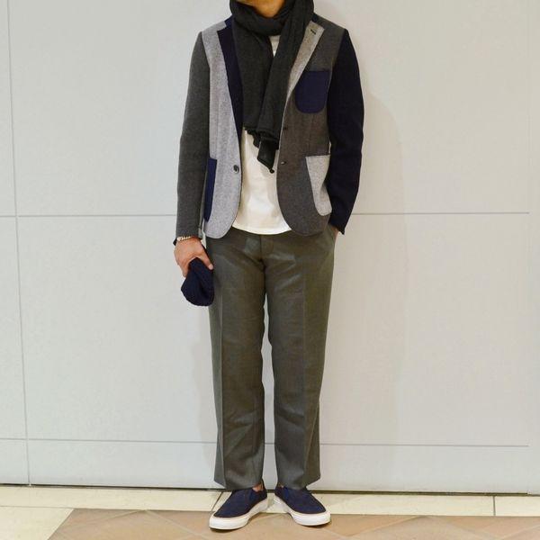 アメリカ的デザイン<BR>BARENA(バレナ)パッチワークジャケット・サキソニー3Bジャケット・サキソニーウールシャーリングパンツ・バスクハット