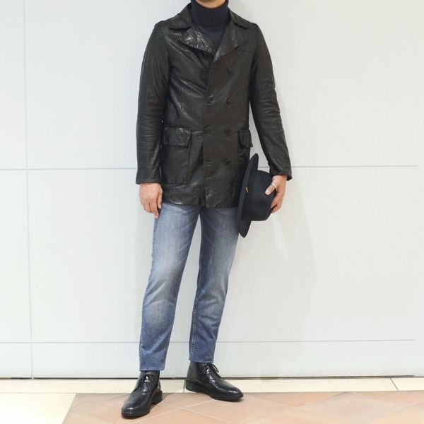 男らしさ<BR>Salvatore Santoro(サルバトーレ サントロ) ラムレザーPコート・ラムレザーライダース・ラムレザーM51型コート<BR>【五感visual】〰『触覚』〰