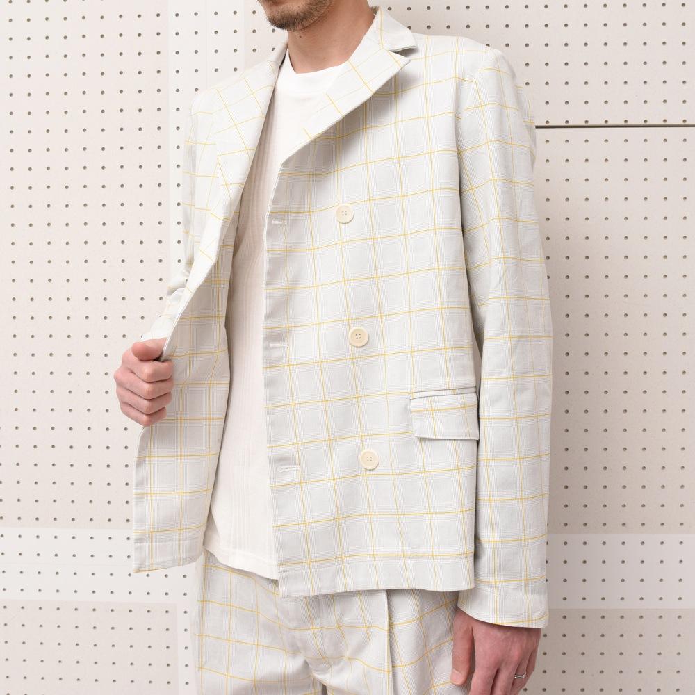 SUNNEI (サンネイ)チェックWジャケット・チェックショーツ・ショートスリーブシャツ・トリムTシャツ
