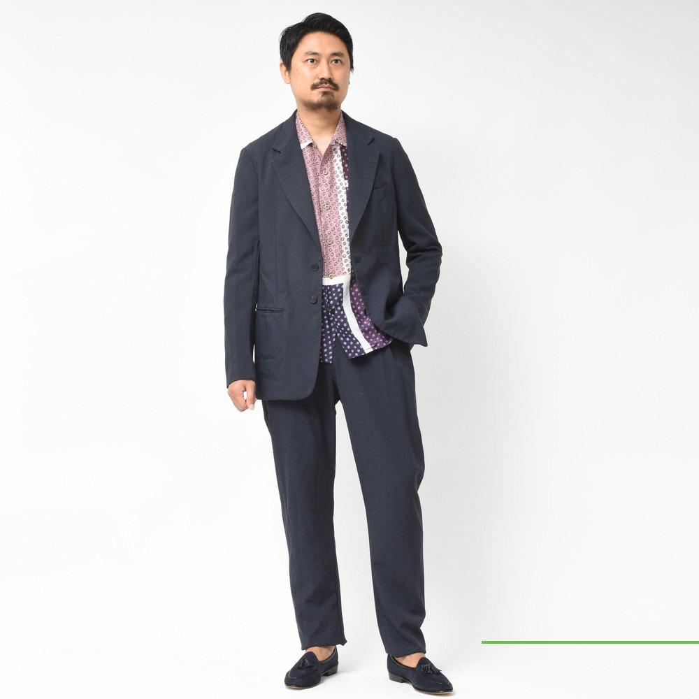 Mando(マンド)<BR>テンセル×キュプラオープンカラーシャツ・ポリエステルシングルジャケット・ポリエステルサルエルパンツ<BR>2019fw collection!!