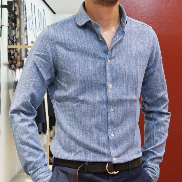 北イタリア×インディゴのシャツコレクション。<BR>BOLZONELLA(ボルゾネッラ) インディゴシャツ型
