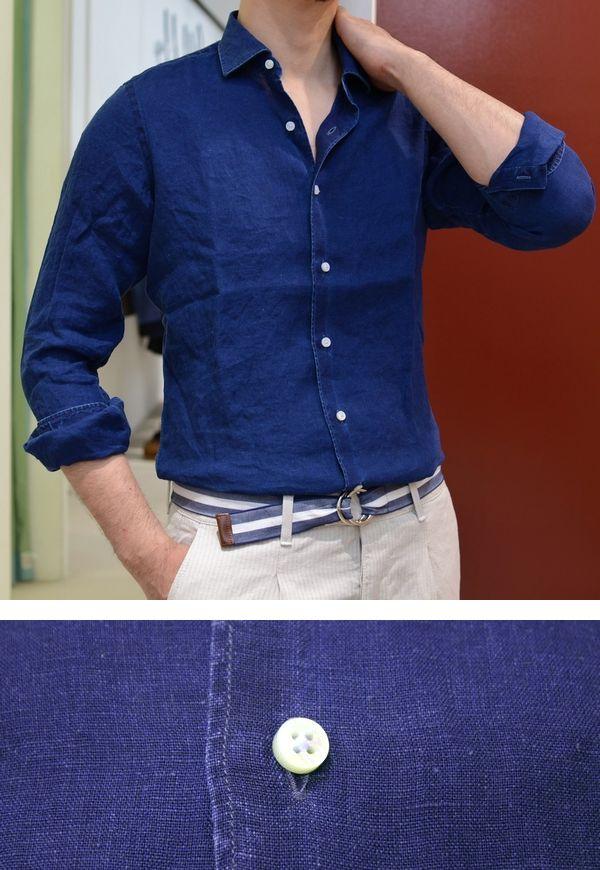 インディゴシャツの変わり種!<BR>Maria Santangelo(マリア サンタンジェロ) インディゴ染めシャツ3型
