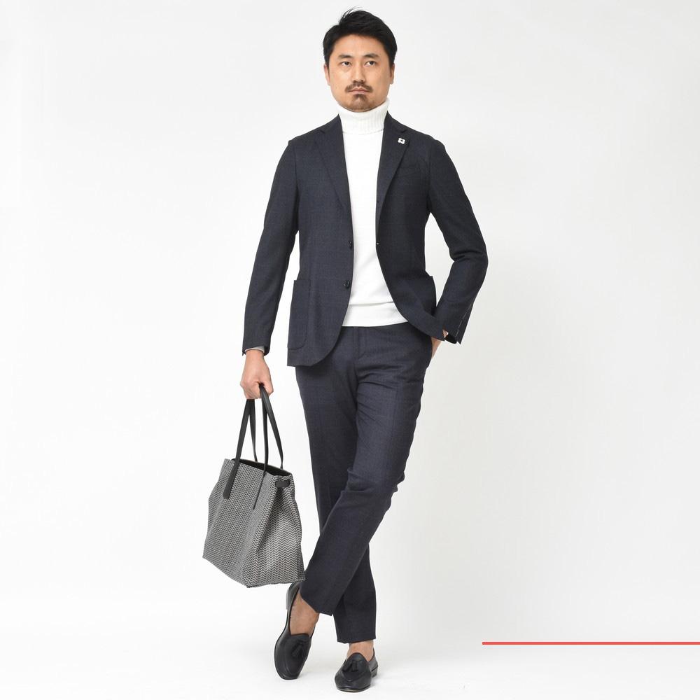 常に新しいがある<BR>LARDINI(ラルディーニ)easy wear グレンチェックパッカブルスーツ・AMA(アマ)デニムシャツジャケット