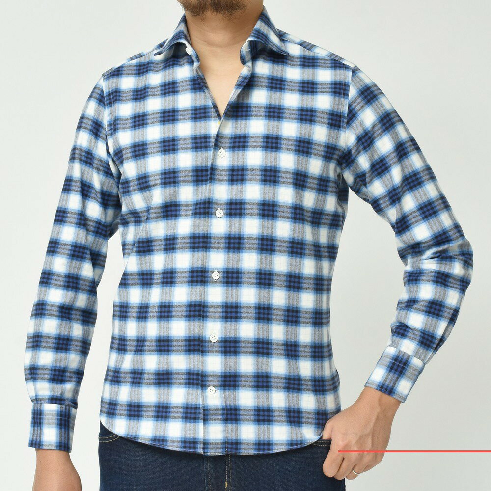 南イタリア流のコットンネルシャツ!<BR>Giannetto(ジャンネット) シャツ1型