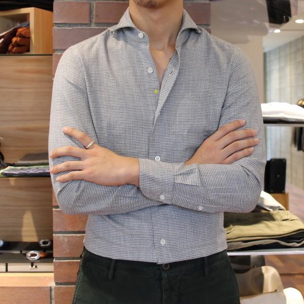トリを飾るのは・・・<br>Giannetto(ジャンネット)マイクロハウンドトゥースカッタウェイワイドカラーシャツ