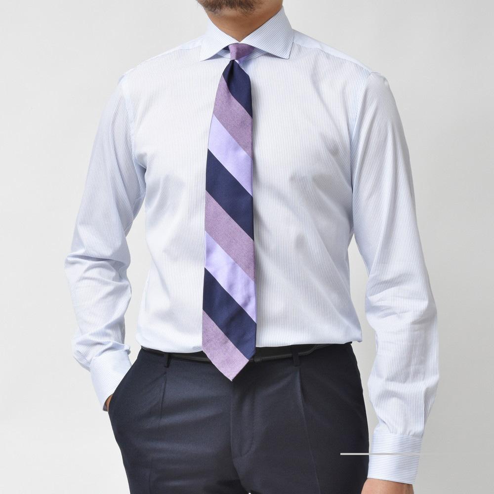 ドレスシャツなら縦縞です!<BR>BARBA(バルバ)ワイドカラーシャツ 406